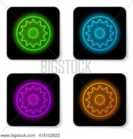 Glowing Neon Line Chakra Icon Isolated On White Background. Black Square Button. Vector