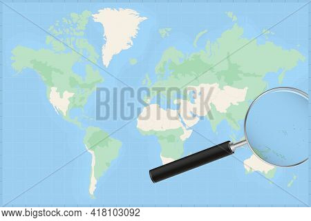 Map Of The World With A Magnifying Glass On A Map Of Marshall Islands Detailed Map Of Marshall Islan