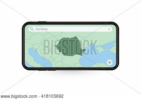 Searching Map Of Romania In Smartphone Map Application. Map Of Romania In Cell Phone. Vector Illustr