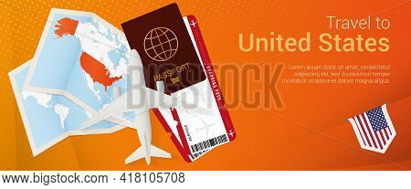 Travel To Usa Pop-under Banner. Trip Banner With Passport, Tickets, Airplane, Boarding Pass, Map And