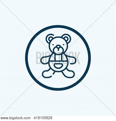 Teddy Bear Icon Isolated On White Background From Children Toys Collection. Teddy Bear Icon Thin Lin