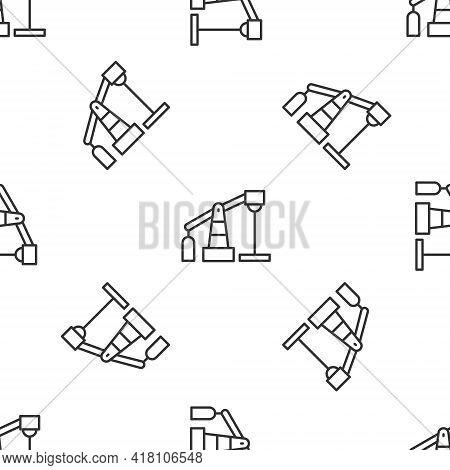 Grey Line Oil Pump Or Pump Jack Icon Isolated Seamless Pattern On White Background. Oil Rig. Vector