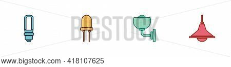 Set Led Light Bulb, Light Emitting Diode, Wall Lamp Or Sconce And Chandelier Icon. Vector