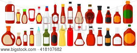 Illustration On Theme Kit Varied Glass Bottles Filled Liquid Sauce Maple Syrup