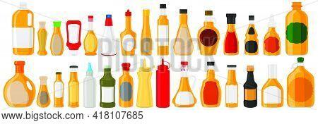 Illustration On Theme Big Kit Varied Glass Bottles Filled Liquid Apple Vinegar