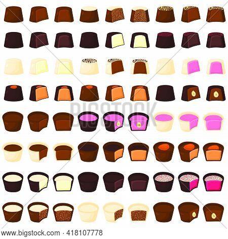 Illustration On Theme Beautiful Big Set Sweet Chocolate Candy Bonbon