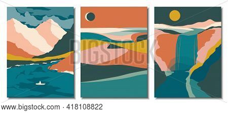 Abstract Contemporary Aesthetic Backgrounds Landscapes Set With Desert, Sand Dunes, Mountains, Lake,