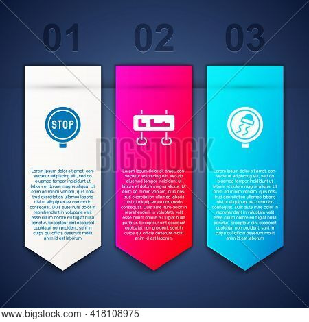 Set Stop Sign, Road Traffic And Slippery Road. Business Infographic Template. Vector
