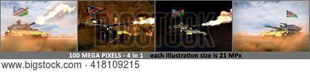Namibia Army Concept - 4 Detailed Illustrations Of Heavy Tank With Design That Not Exists With Namib