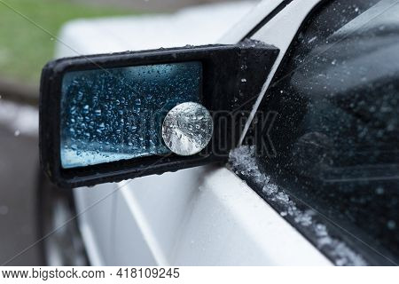 Hail And Rain, Car Side Mirror. Car And Weather Conditions.