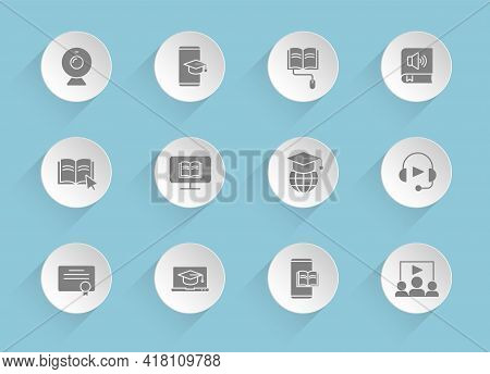 E-learning Vector Icons On Round Puffy Paper Circles With Transparent Shadows On Blue Background. E-