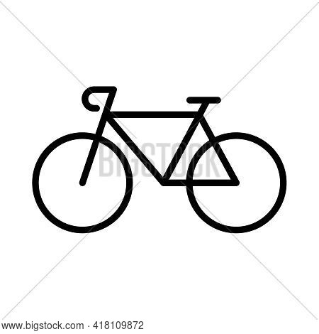 Bike Line Vector Icon Isolated On White Background. Bicycle Outline Illustration For Web And Ui Desi