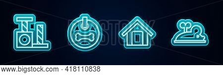 Set Line Cat Scratching Post, Dog Collar, House And Clockwork Mouse. Glowing Neon Icon. Vector
