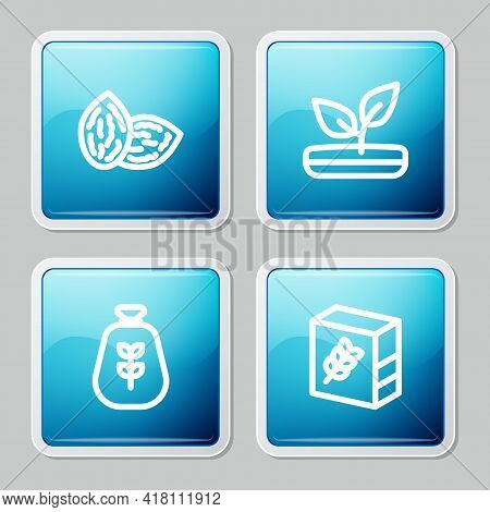 Set Line Seed, Sprout, Bag Of Flour And Flour Pack Icon. Vector