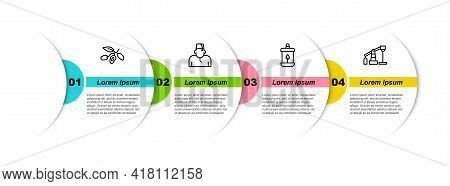 Set Line Date Fruit, Muslim Man, Ramadan Kareem Lantern And Oil Pump Or Pump Jack. Business Infograp