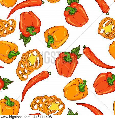 Vector Seamless Pattern With Paprika And Chili Pepper. Illustration Isolated On White Background. Ha