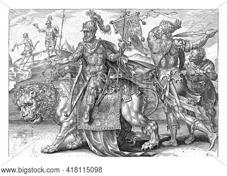 In the foreground David with his harp riding a lion. In his left hand a cross with a banner. On the banner the reins of ratio. Behind David follow Saul, who threatens him with a spear