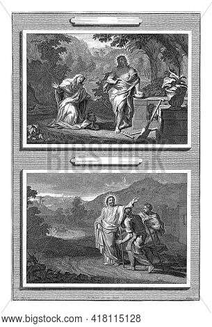 Two post-resurrection appearances of Christ. Upstairs he appears to Mary Magdalene, who kneels before him.