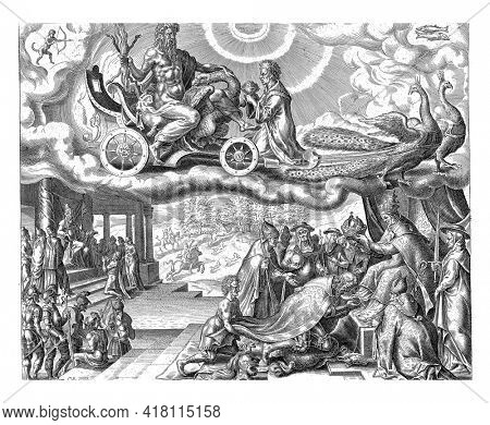Jupiter rides in his chariot in the sky, pulled by two peacocks. The signs of Sagittarius and Pisces indicate which people belong to Jupiter's sphere of influence.