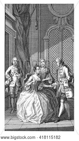 In a decorated interior, a man greets an elegantly dressed young woman, who is seated in a chair. Behind the young lady are two servants.