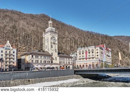Sochi, Russia - March 4, 2020: Ski Resort Rosa Khutor. A View Of The Mzymta River And Town Hall With