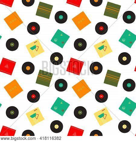 Retro Style Musical Vinyl Records Vector Pattern