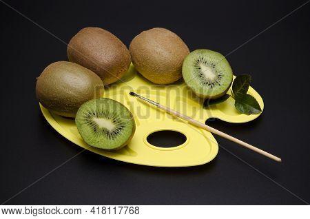Beautiful Image Appetizing Kiwi On The Palette