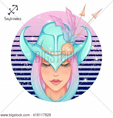 Zodiac. Vector Illustration Of The Astrological Sign Of Sagittarius As A Beautiful Fashion Girl In H