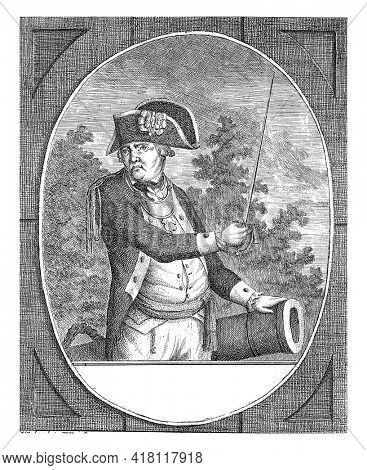 Portrait of Joachim Maurits von Kropff, with his name, position and date of death in German.