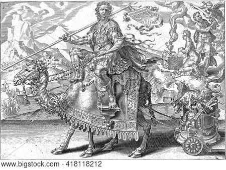In the foreground Isaac riding a dromedary. In his right hand a cross with a banner. Two shackles on the banner as a sign of his voluntary patience