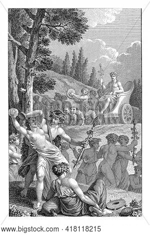 In the background, Bacchus arrives in his leopard-drawn chariot. In his hand he holds his staff, the Thyrsus.