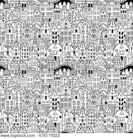 Black And White Seamless Pattern With Amsterdam Canal And Typical Dutch Houses, Holland, Netherlands
