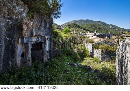 Ancient Lycian Tomb In The Abandoned Greek Kayakoy Town, Also Known As Karmilissos Or Ghost Town. Fe