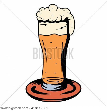 Beer In A Glass. Alcohol. Bar. Alcoholic Drink In A Glass Goblet. Cartoon Style.