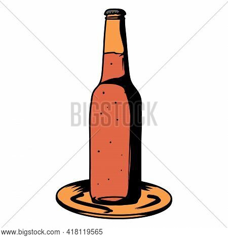 Beer In A Bottle. Alcohol. Bar. Alcoholic Drink In A Glass Bottle. Cartoon Style.