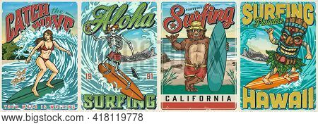Hawaii Surfing Vintage Colorful Posters With Funny Bear In Sunglasses Holding Surfboard Attractive G