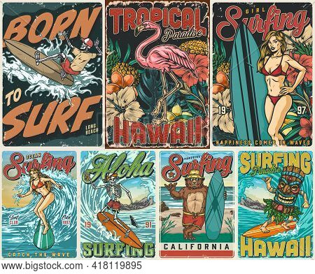 Vintage Colorful Surfing Posters Set With Pink Flamingo Tropical Fruits Flowers Leaves Skeletons Fun
