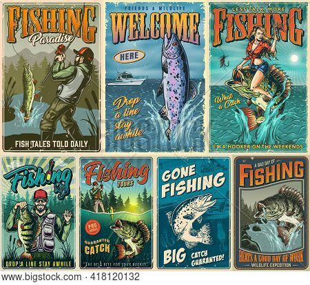 Fishing Vintage Posters Composition With Fishermen Rainbow Trout Pike Bass Fishes Pretty Woman Holdi