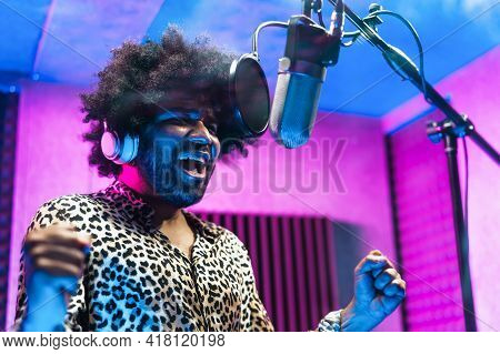 Young Professional Afro Singer Recording A New Song Album Inside Music Production Studio