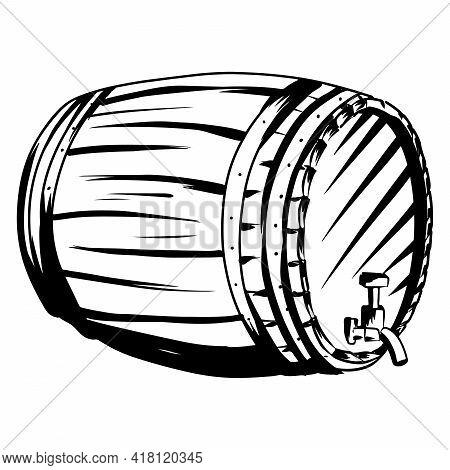Wooden Barrel For Wine. Old Barrel. A Barrel For Storing Alcohol. Cartoon Style.