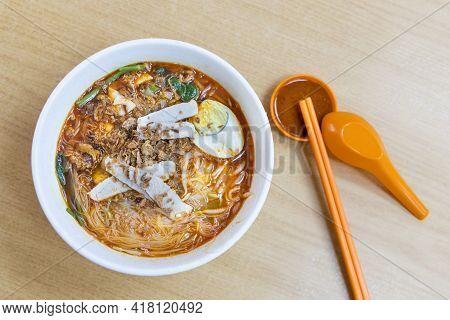 Overhead View Of Simple Prawn Noodles Or Hokkien Mee, Popular Food In Penang, Malaysia