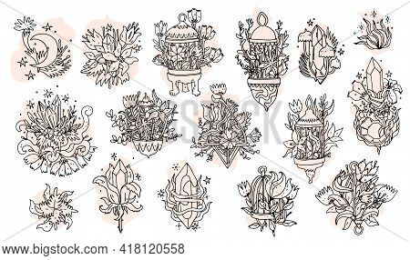 Magic Crystals With Flowers Set. Line Art Hand Drawn Doodle Elements With Quartz Crystals And Flower