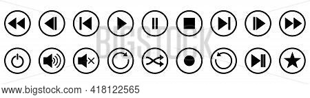 Play, Stop And Pause Buttons. Set Of Black Audio Buttons. Vector Illustration. Isolated Player Butto