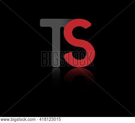 Stylized Lowercase Letters T And S In Red And Black Connected By A Single Line For Logo, Monogram An
