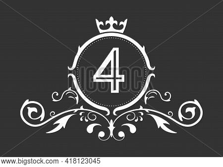 Stylized Number 4. Ornament And Crown Monogram Template For Business Cards, Logos, Emblems And Heral