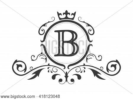 Stylized Letter B Of The Latin Alphabet. Monogram Template With Ornament And Crown For Design Of Ial