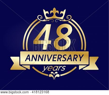 48 Year Anniversary. Gold Round Frame With Crown And Ribbon. Vector Illustration For Birthday, Weddi