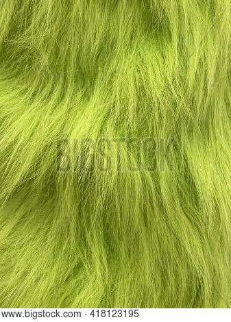 Green Colored Sheep Wool Skin Rug - Background Or Texture.
