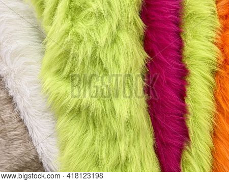 Bolts Of Fur And Faux Fur Cloth In A Fabric Store