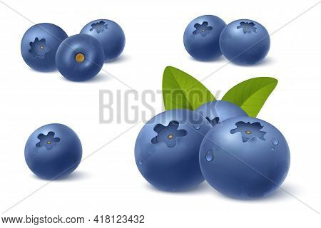 Realistic Blueberry In 3d Style. Fresh Ripe Blueberry With Green Leafs Isolated On White Background.
